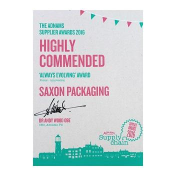 Saxon Awarded Highly Commended at Adnams Supplier Awards 2016