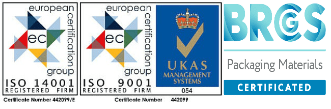 ISO14001 | ISO9001 | UKAS Management Systems | BRCGS Packaging Materials Certified | Saxon Packaging