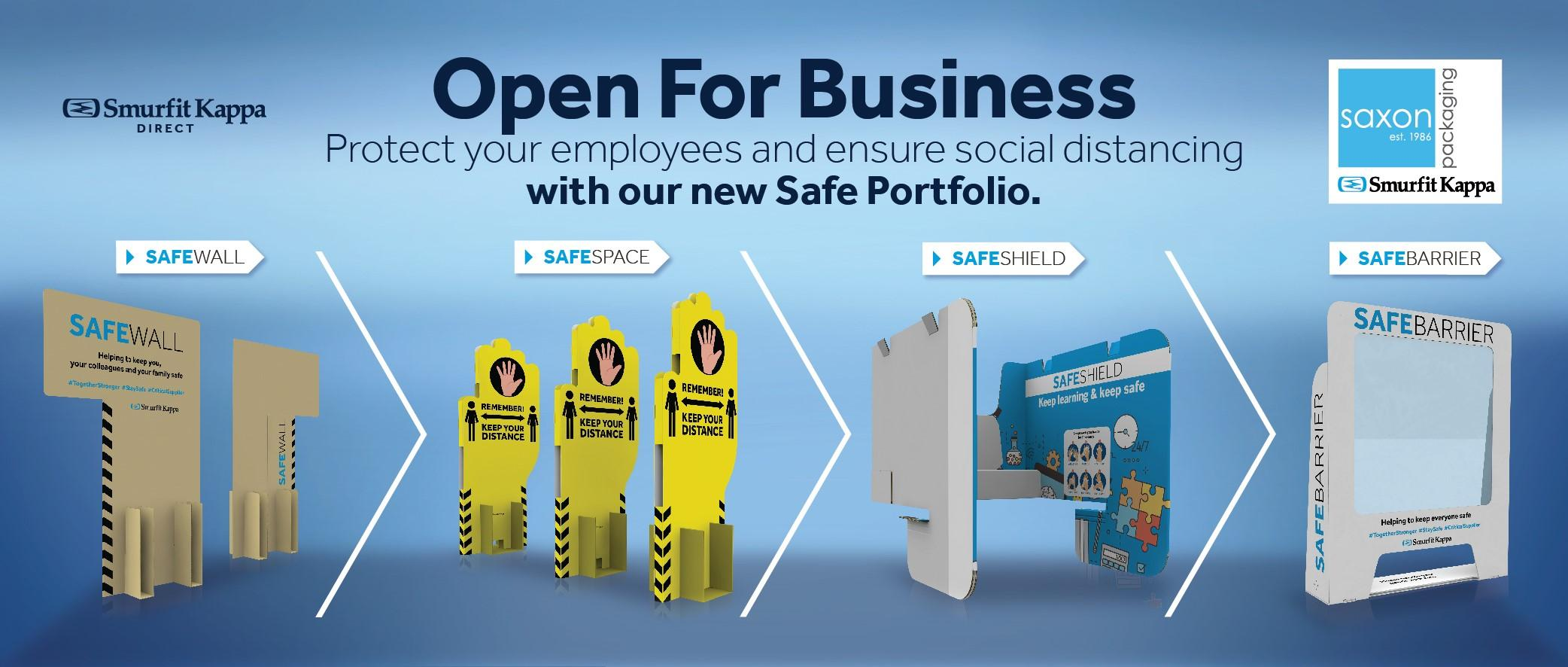 Smurfit Kappa Safe Port Folio - Social Distancing Products - Saxon Packaging